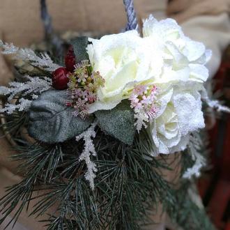 Подсвечник плетёный новогодний декор