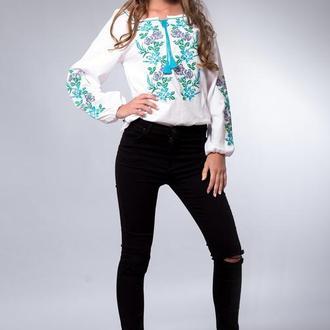 Вышиванка для женщин, цветочный узор, длинный рукав 56