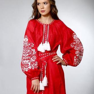 Красное вышитое платье в бохо-стиле 46, Лен