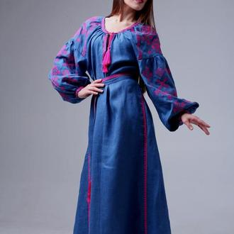 """Платье длинное """"Цвіт папороті"""", лен индиго"""
