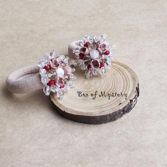 Светло бежевые резиночки для волос, резиночки для девочек, резинки с цветами, подарок девочке