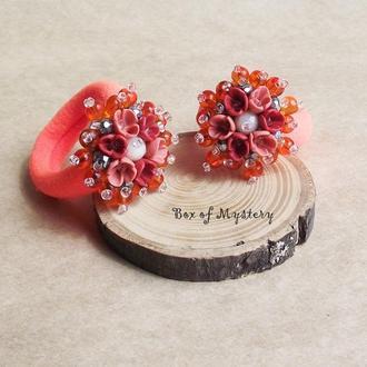 Оранжевые резиночки для волос, резиночки для девочек, резинки с цветами, подарок для девочки