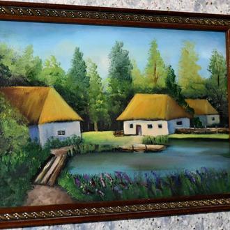 Живопись, сельский пейзаж, размер 20х30см
