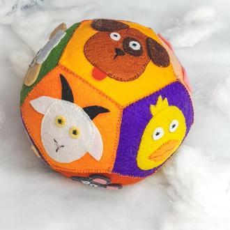 """Развивающий мяч 🐸🐼🐹🐭🐵 """"ЖИВОТНЫЕ"""" из фетра для малыша / Тактильный мяч зверюшки/ Подарок ребенку"""