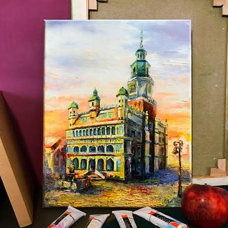 Картина олійними фарбами 30х40 Ратуша міста Познань