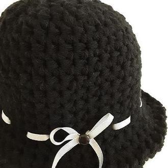 Шапка клош чёрная,  женская, зимняя шерстяная панама в стиле ретро