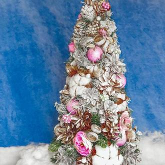 Новогодняя декоративная ЕЛКА🌲 из природных материалов в серебристо-розовых тонах /ЭкоЕлка