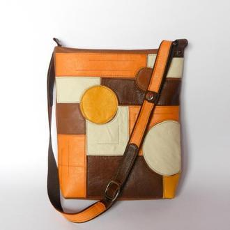 Кожаная сумка «Глюки», солнце в карамели