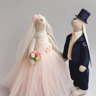 """Свадебные зайцы  """"Чайная роза"""" Подарок на свадьбу"""