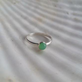 Серебряное кольцо с хризопразом, кольцо с зеленым камнем, подарок