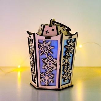 Рождественский светильник - старинный фонарь Снежинки