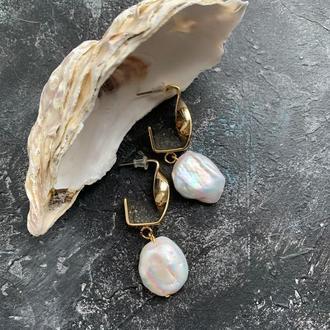Серьги с позолотой жемчугом серьги с жемчугом барочный жемчуг