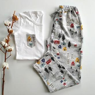 Женская новогодняя пижама со штанами из фланели