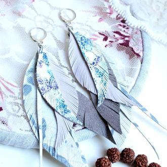 длинные серьги из кожи в нежно лиловом цвете
