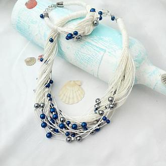 Летний комплект эко-украшений, льняное колье и браслет.