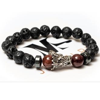 Браслет мужской DMS Jewelry из лавового камня, гематита, граната RED DRAGON