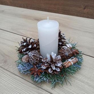 Натуральна Новорічна різдвяна композиція зі свічкою, Новорічний різдвяний підсвічник