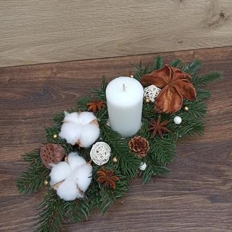 Новорічна різдвяна композиція зі свічкою на стіл Новорічний різдвяний підсвічник