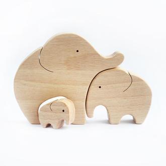 """Дерев'яний пазл """"Сімейка слоників """""""