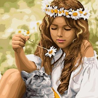 Картина по номерам Отдых с котенком, 40х50 (KHO4706)