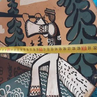 Большая настенная глиняная миска 80-х годов d=33,5 см