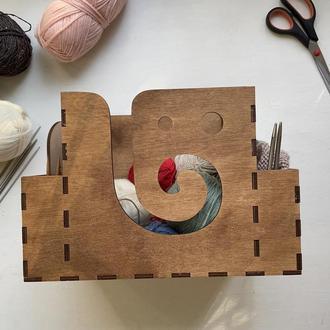 Клубочница деревянная для пряжи