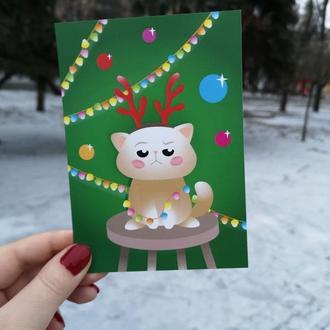 """Новогодняя открытка """"Недовольный кот"""""""