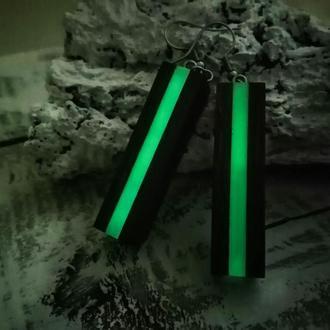 Деревянные серьги с эпоксидной смолой, светятся в темноте  - оригинальный подарок девушке
