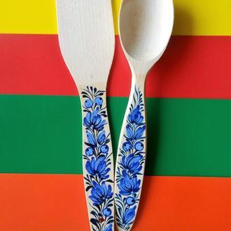 Деревянный подарочный кухонный набор Лопатка и Ложка петриковская роспись