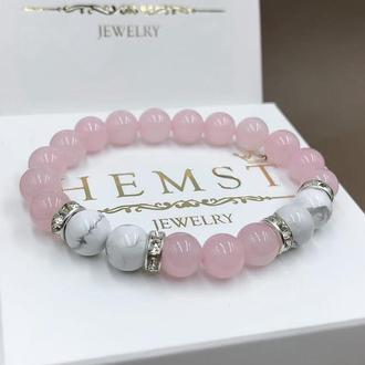 Женский браслет из розового кварца и кахолонга