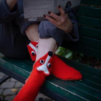 """Вязаные носки """"Лиса"""""""