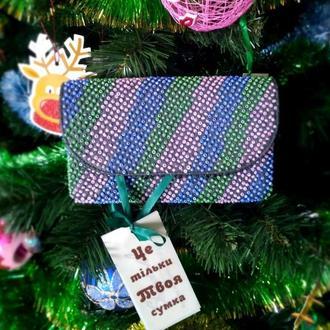 Красивый разноцветный клатч из натуральной кожи с ручной вышивкой бисером. Готов к отправке.