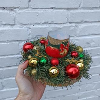 Класичний Новорічна різдвяна композиція зі свічкою, Новорічний різдвяний підсвічник