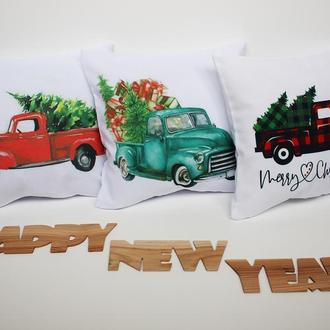 Подушка червона машина з ялинкою, новорічна подушка олень Київ, новорічна наволочка червона клітка