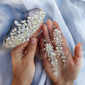 Свадебная диадема и серьги, тиара, корона, нежная диадема , диадема для невесты