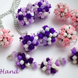 """Комплект """"квіткові кулі"""", сережки квіткові кулі, кулон квіткові кулі виконаний з полімерної глини"""