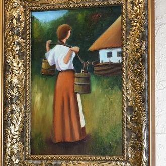 Українська дівчина, живопис, розмір 20х30см
