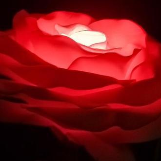 """Светильник """"Роза. Палитра цвета."""" (Лампа - 15 цветов свечения.) Яркий подарок."""