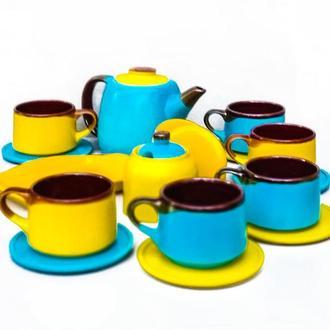 Чайний набір жовто-блакитний на 6 осіб