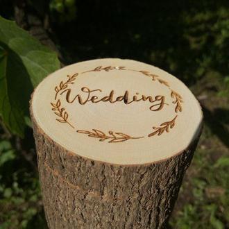 Коробочка для свадебних колец. Сруб из дерева