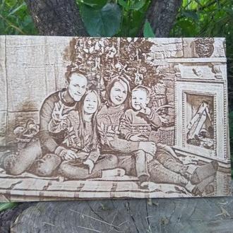Портрет на дерева на заказ. Гравировка