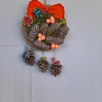 Новогоднее панно из натуральных материалов