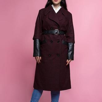Пальто з вовни в клітку