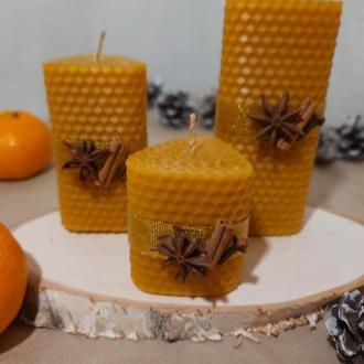Праздничные эко-свечи. Свечи из вощины. Украшение для дома.