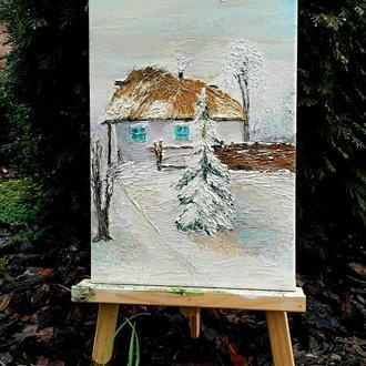 Картина маслом «Сільська хатинка», 20х30
