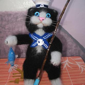 Вязаный кот - морячек