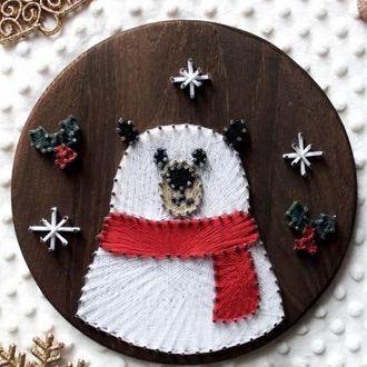 Деревянное панно стринг арт Белый Медведь на Новый Год или Рождество