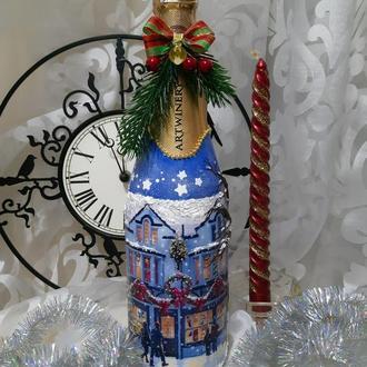 """Декор бутылки шампанского """"Праздник приближается"""""""