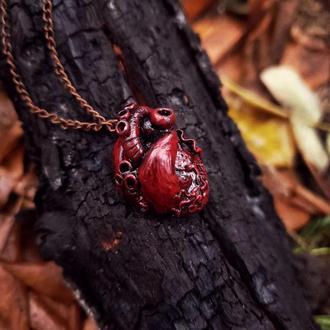 Кулон анатомическое сердце, полимерная глина, подарок на день святого Валентина, девушке, подруге