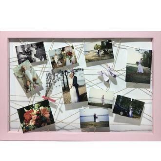 Деревянная фоторамка розовая 70*50